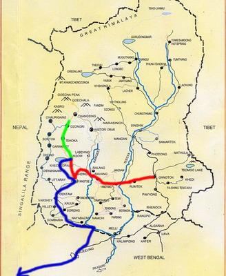 Carte Inde Sikkim.Sikkim Parcours